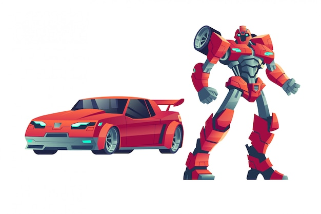 Red robot transformer and car, cartoon illustration