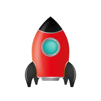 白で隔離の赤いロケット