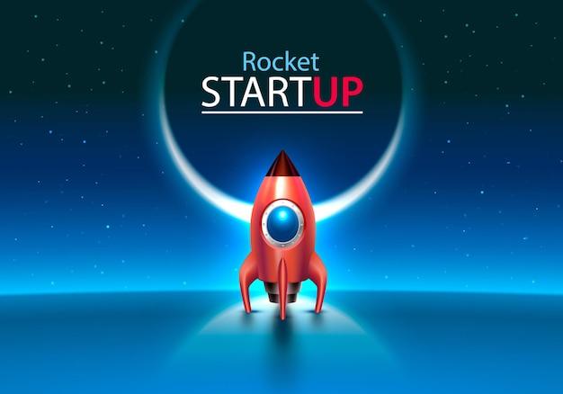 赤いロケットは青い背景に宇宙おもちゃを起動します。ベクトルイラスト