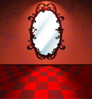 Red room with mirror