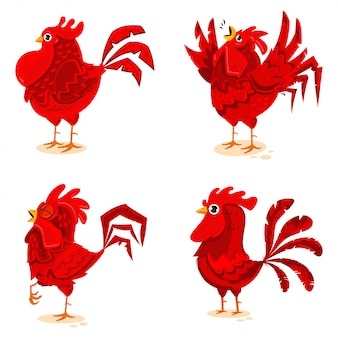 Red roosters vector cartoon characters set isolated