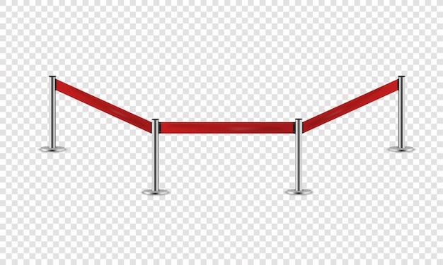 전시를위한 붉은 밧줄. 보안 영역에 대한 현실적인 울타리.