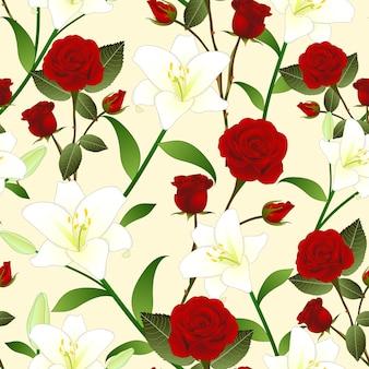 Красная роза и белый цветок лилии бесшовные рождественские бежевый фон из слоновой кости