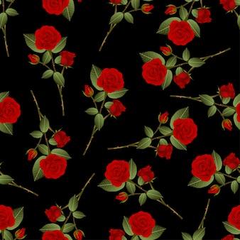 黒の背景に赤いバラの花束