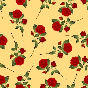 Red rose bouquet on yellow background