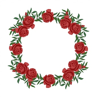 Red rose floral wreath circle border