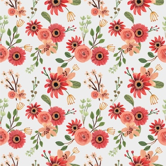 赤いバラの花柄春手描きのシームレスパターン