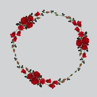 빨간 장미 꽃 원형 프레임 절연