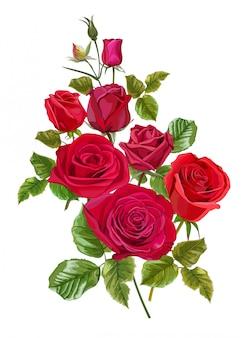 Цветок красной розы для поздравительных открыток и приглашений на свадьбу