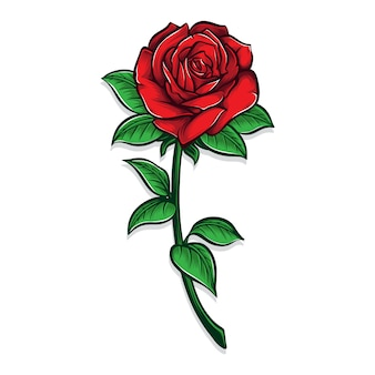Красная роза цветок иллюстрация