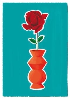 オレンジ色の陶製の花瓶の赤いバラの花