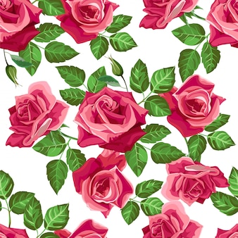 Red rose flower seamless pattern -vector