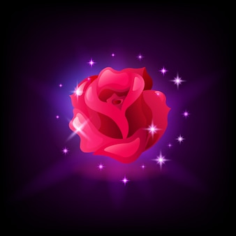Red rose flower slot machine icon with sparkles