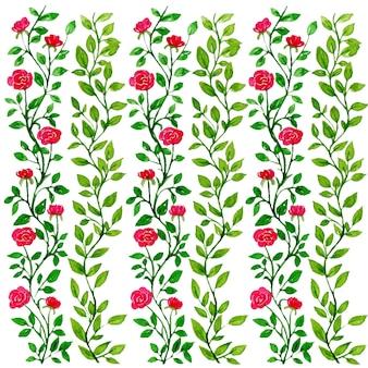赤いバラの花の水彩パターンイラスト