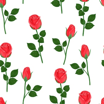 Red rose flowers seamless pattern.