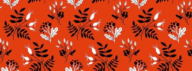 黒の手描きの枝と葉と赤いローズヒップのシームレスなパターン。民芸スタイル、伝統的なベクトル飾り
