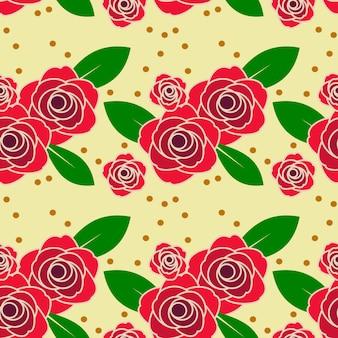 ビンテージトーンのシームレスパターンの赤いバラ。