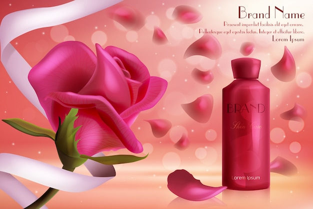 Red rose luxury cosmetics skincare illustration. face or body skin care cream gel in glass bottle, beautiful red rose flower and petals, cosmetology product for every day beauty routine