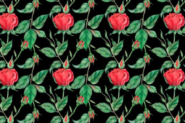 赤いバラのパターンの背景ベクトル