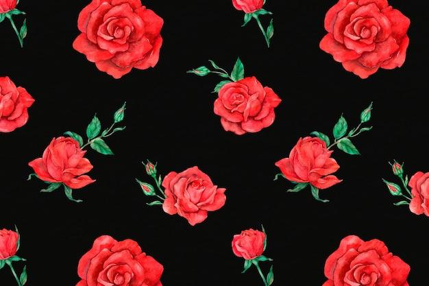 赤いバラのパターンの背景