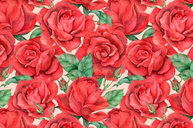 빨간 장미 패턴 배경