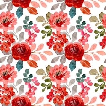 수채화와 빨간 장미 원활한 패턴