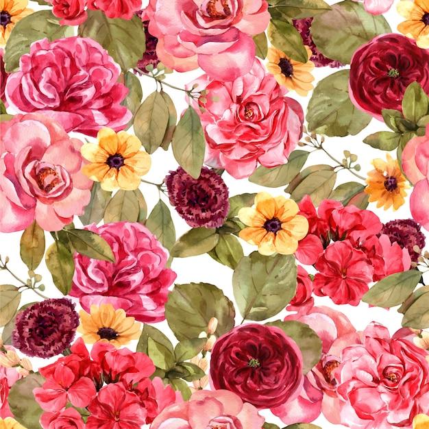 Red rose seamless pattern.