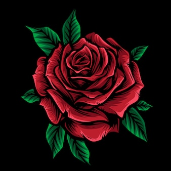 Red rose vector with leaf