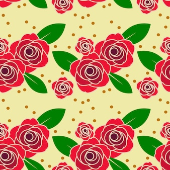 Red rose in vintage tone seamless pattern.