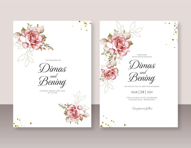 결혼식 초대장 서식 파일에 대 한 빨간 장미 수채화