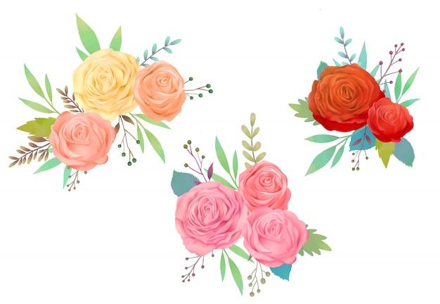 빨간 장미 수채화 그림