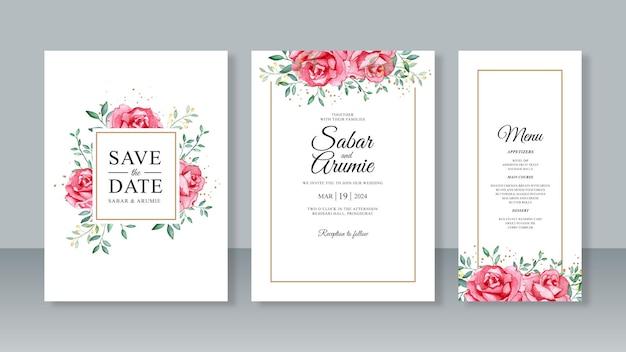 美しいウェディングカードの招待状セットテンプレートの赤いバラの水彩画
