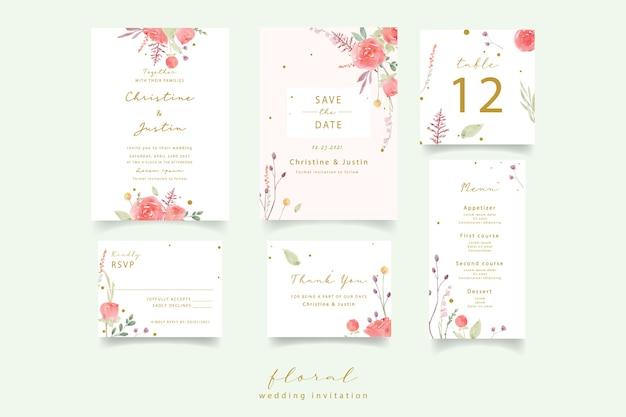 Red rose watercolor wedding invitation
