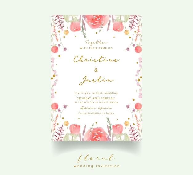 赤いバラの水彩結婚式の招待状