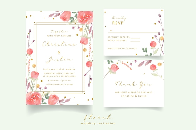 Red rose watercolor wedding invitation