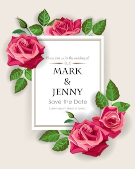 Red rose on wedding card template