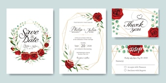 Red rose wedding Invitation card.