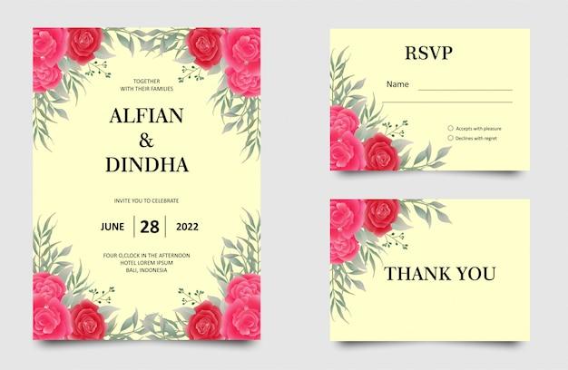 赤いバラの結婚式の招待カード