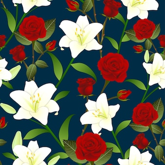 Red rose and white lily flower seamless christmas background