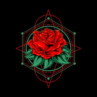Red rose with sacred geometry illustration