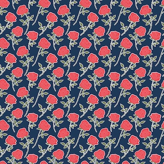 Red roses chintz seamless pattern  flora background