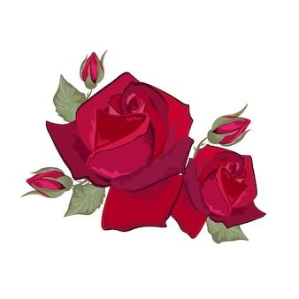 赤いバラのデザイン