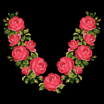 Red roses embroidery design.