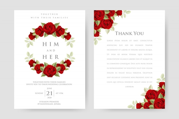 Red roses frame wedding invitation template
