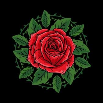 緑の葉のイラストで手描きの赤いバラ