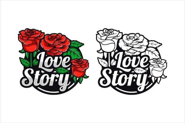 Красные розы любовная история дизайн иллюстрация