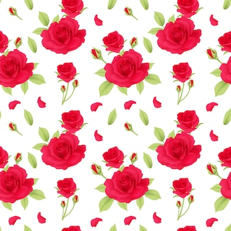 Red roses pattern seamless