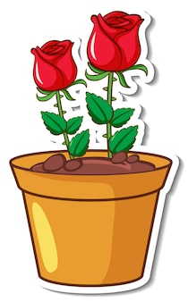 Adesivo con rose rosse in vaso