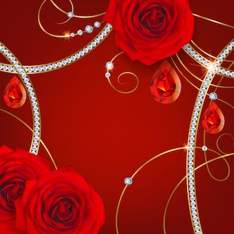 Red roses and rubies.holiday background for valentine`s day invitation