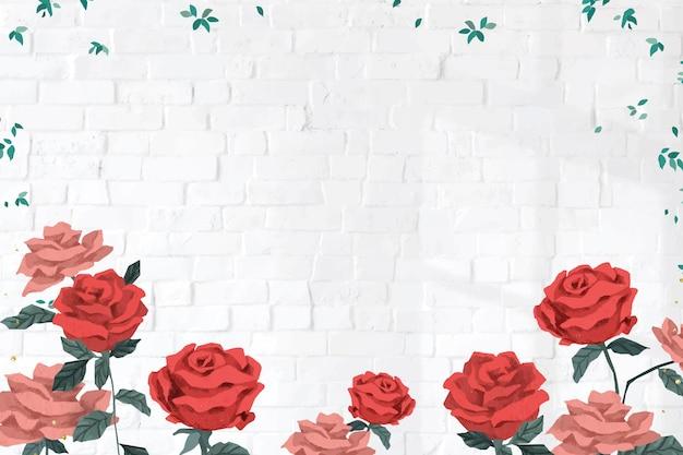 벽돌 벽 배경으로 빨간 장미 발렌타인 프레임 벡터